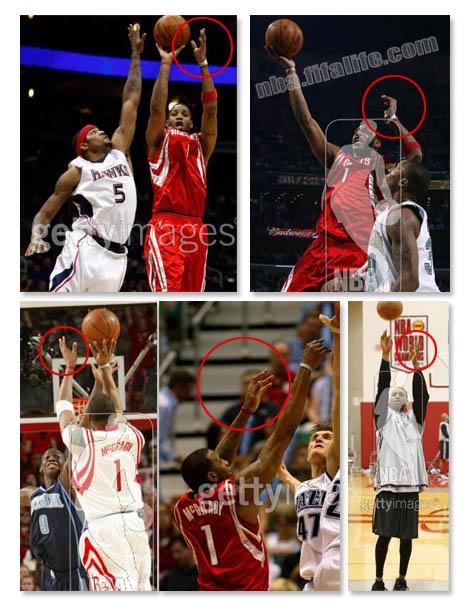 NBA标准投篮姿势教程–左手动作辨别篮球场上真伪高手之一:麦蒂